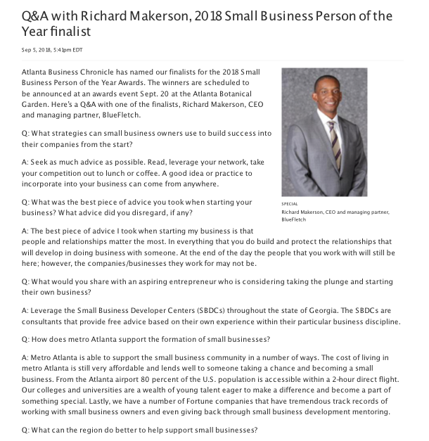 atlanta business chronicle small business person of the year award